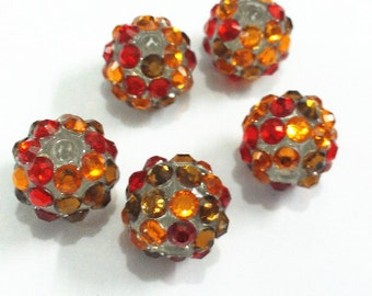 12mm, Orange, Brown and Red Rhinestone Gumball Beads 10CT, A40