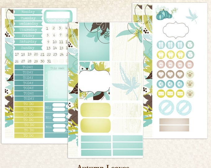Personal Sized Weekly Kit -- Autumn Leaves Planner Stickers