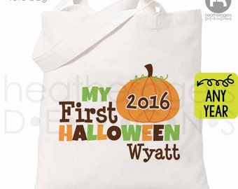 Halloween Trick or Treat Bag - Personalized Pumpkin Bag - 1st Halloween Trick or Treat Bag