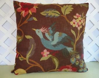 Large Bird Pillow Cover in Brown Blue Burgundy Red Green / Bird Pillow / Brown Pillow / Decorative Pillow / Accent Pillow / 24 x 24 Pillow