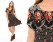 Vintage 90's Black Floral Lace Gauze Mini Dress