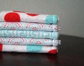 Girl Washcloths - Baby Girl Gift - Pink, Aqua, Grey - Polka Dot - Scallop - Greek Key - Cute Washcloths