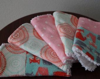 Baby Girl Washcloth - Foxes - Polka Dots - Pink - Aqua - Grey - Baby Shower Gift Set - Cotton Baby Washcloths