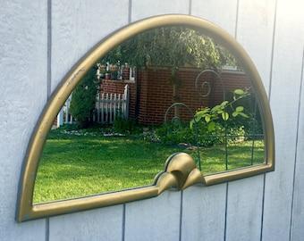 Vintage Greg Copeland Half Moon Mirror with Fleur de Lis
