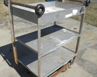 good sturdy strong shape vintage 1950s or so rolling work shop factory service station METAL INDUSTRIAL age CART with handle pick up only