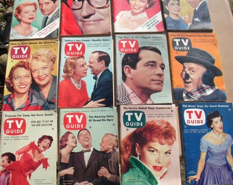 very nice CLEAN lot of 12 vintage 1956 TV GUIDES  3c