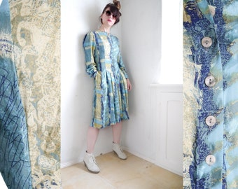 Vintage 80s Dress Summer day dress ethnic abstract print mid length buttons shirt dress blue green yellow button down tribal midi dress / M