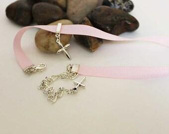 Pink Choker Necklace, Silver Cross Choker, Dainty Spiritual Choker, Everyday Religious Jewelry