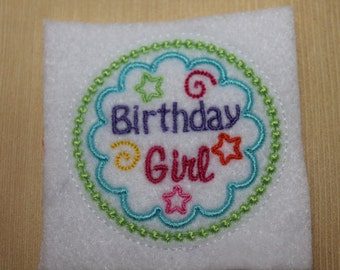 Birthday Girl feltie, Colorful birthday girl felt stitchies, 4 pcs for hair accessories, scrapbooking, or crafts, wholesale felties