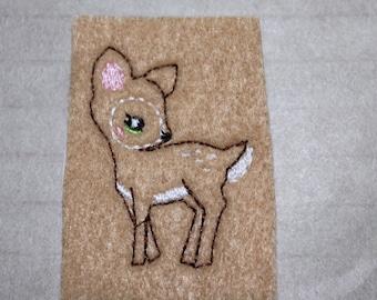 Shy little deer felt, woodland deer feltie on camel tan felt, felt stitchies, 4 pieces for hair accessories, scrap booking or crafts