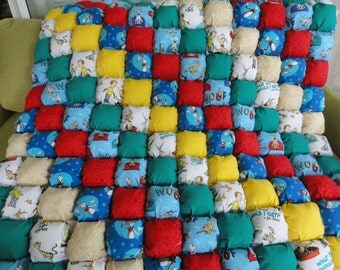 Dr. Seuss Themed Bubble Quilt 42x42 Blue and White Dot back by Karrirose