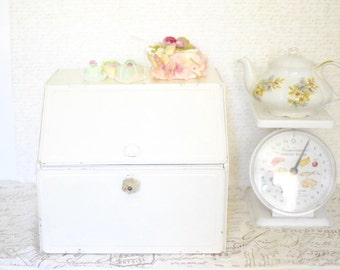 Vintage Tin Bread and Cake Box - Two Tiered Shabby White Metal Bread and Cake Box - Romantic Cottage Kitchen Decor
