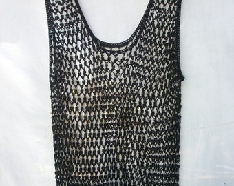Tank / Sleeveless ~ Black Beaded Fishnet ~ Vintage See Through Top ~ 80's / 90's era ~ Camisole ~ Sheer Mesh Style