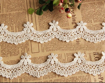 "10 yard 2cm 0.78"" wide ivory cotton scallop embroidered lace trim ribbon tapes ryjg2 free ship"