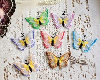 30pcs 4.5x5.5cm wide butterfly mesh embroidery lace appliques L21K99 free ship