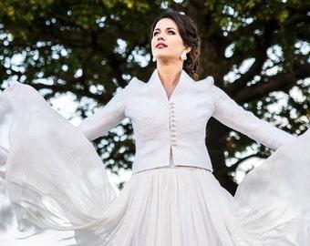 Ivory wedding jacket -  bridal jacket - felted jacket - felt gown - felted wool jacket - wool jacket - white jacket - spring wedding