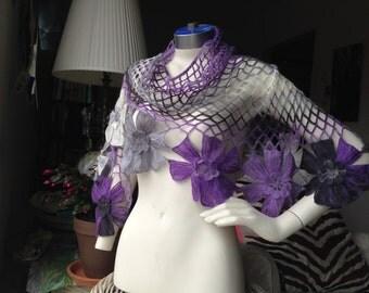 Crochet Wrap Shawl,Purple Gray Floral Shawl,Triangle Net Wrap,Neck Warmer,Crochet,Bohochic,Mohair,FREE Shipping inUS,UniqueGift