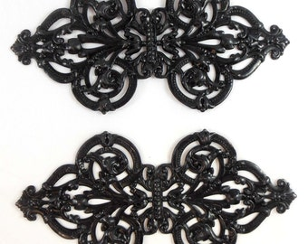 Brass Blank, Brass Filigree, Bracelet Plaque, Cuff Base, Matte Black, Ebony Black,  US Made, Bsue Boutiques, 5.25 Inches Long, Item07695