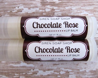 Chocolate Rose Lip Balm . Natural Lip Balm . Chocolate . Rose . Lip Butter