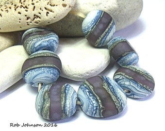 Malla Bay, Lampwork Pebble Beads, SRA, UK