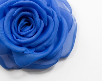 Dark Blue  voile Rose - 100% handmade  - brooch /hair clip- MADE TO ORDER
