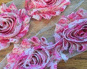 By the Yard- Pink Floral- Print- Shabby Flower/ShabbyTrim/Shabby Chic-full yard approx. 14 flowers. -1/2 yard, approx. 7