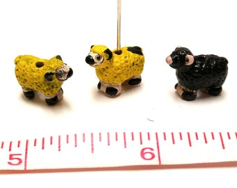 Mini Sheep - resin beads - set of 3