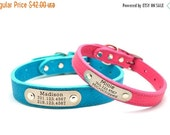 WINTER SALE 15% off LUXE Leather Dog Collar with Personalized Nameplate - 8 Colors