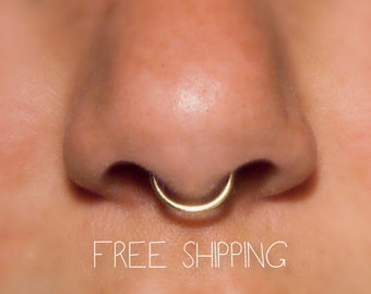 14k Fake Septum Ring, 18 gauge **NO Piercing**  fake septum piercing, faux septum, fake nose ring, simple, plain