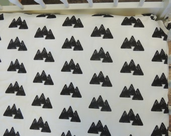 Crib Sheet, Black and White Crib Sheet, Mountain Print Crib Sheet