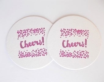 Cheers Coasters, Wine Party, Reception Tableware, Hand Stamped Drink Coasters, Hostess Gift, Party Tableware