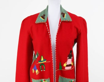 1950s Jacket // Mexican Tourist Embroidered Wool Jacket in Red and Green