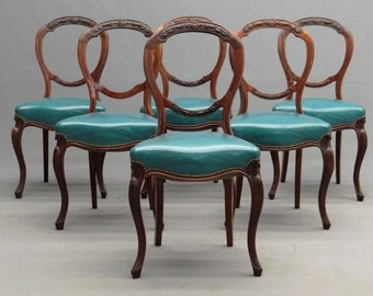 6 Antique French Balloon Back Chairs Curved Legs Nail Heads Carved Wood Gorgeous Dining Room Chairs