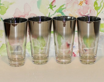 Vintage, Set of 4, Queens Lusterware, Silver Fade, Flared Tumblers / Glasses