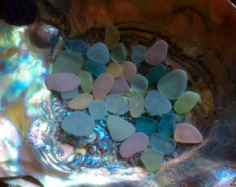 30  Medium & Small Pastel genuine sea glass Pink Aqua PB-A19-32-J