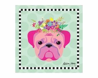 Bulldog Pet Portrait Art Print Illustration Wrapped Canvas 12x12x.75