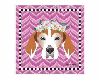 Beagle Pet Portrait Art Print Illustration Wrapped Canvas 12x12x.75