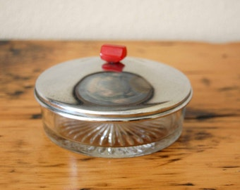 Vintage Art Deco Covered Cut Glass Candy Dish Trinket Dish Condiment Dish Bakelite Handle Crystal Candy Dish from The Eclectic Interior