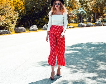 Vintage 1980s Polka Dot Pants Red High Waisted Cotton Trousers