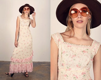70s Bow Dress Vintage Beige Pink Floral Tiered Maxi