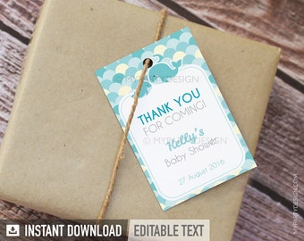Whale Thank You Tags - Favor labels - Whale Baby Shower Party - Boy Turquoise Teal - INSTANT DOWNLOAD - Printable PDF with Editable Text