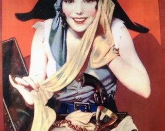 Beautiful 1920's Pirate Girl Hosiery Box Lid Artwork Print