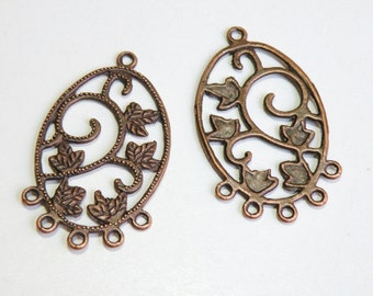 4 Chandelier Earring components leaf oval antique copper 5 loop focal pendant leaves and vines 41x24mm 1816FY