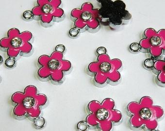 10 Cute pink enamel flower charm with rhinestone center silver finish 16x12mm ENAM-1