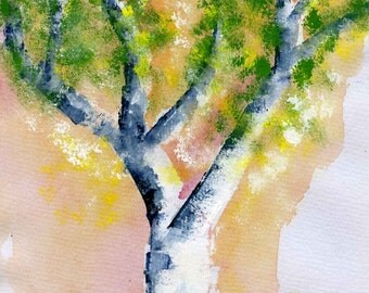 Tree in bloom -- Original Watercolour painting -- Abstract Watercolour -- Spring -- Orginal watercolor Painting