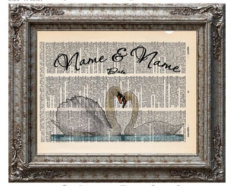 Swans In Love with Names and Date 1 on Vintage Upcycled Dictionary Art Print Book Art Print Anniversary Wedding Customized Personalized