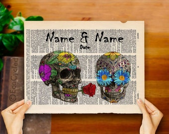 Sugar Skulls in Love w/ Names & Date Vintage Upcycled Dictionary Art Print Book Art Print Anniversary Wedding Bones Customized human skulls
