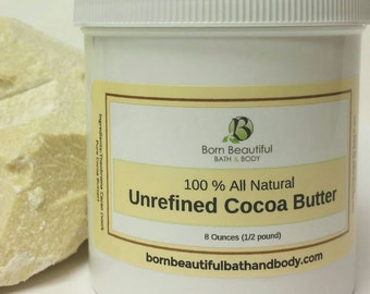 Unrefined Cocoa Butter -  Body Butter = Bath and Beauty - Natural Hair Butter - Cacao Butter