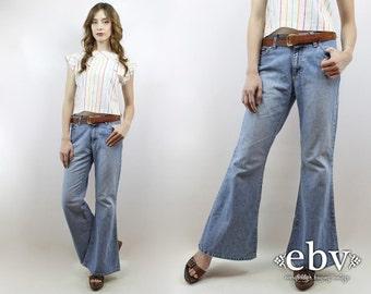 Hippie Jeans Hippy Jeans Boho Jeans Bellbottoms Flared Leg Jeans 90s Jeans 90s Denim Vintage 90s Denim Bell Bottom Jeans M 28