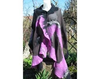 Nuno Felt Scarf,Au Wool Felt Scarf,Nuno Felt Wrap Shawl,Pink Mauve Shawl,Wool Shawl, Art Deco,Nuno Felt Skarf,Scarf,Handmade